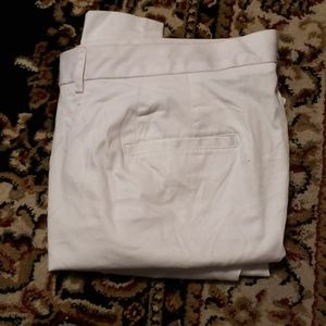 White sateen ankle pants